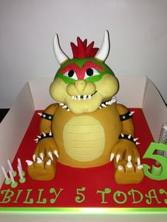 Bowser Cake Super Mario Bros Party Pinterest Bowser Cake - Bowser birthday cake