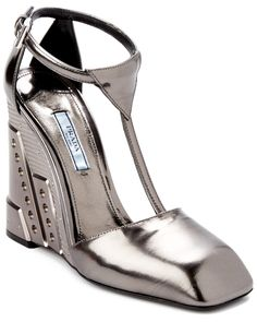 Spotted this Prada Metallic Leather T-Strap Wedge on Rue La La. Shop (quickly!).