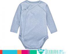 Organic Cotton Infant Baby Onesies Double Long Sleeve Plain Blue