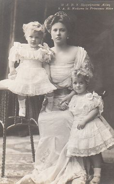 Princess Andrew of Greece and Denmark, nee Princess Alice of Battenberg, with her daughters Princess Margareta and Princess Theodora of Greece and Denmark