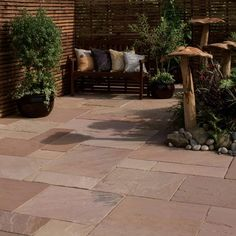 atural Sandstone will give your patio that touch of exclusivity. Modac Natural Sandstone paving from Bradstone comprises a visually stunning mixture of red, buff, orange and muted rose pink shades with complementary veining. Sandstone Wall, Sandstone Paving, Concrete Paving, Paving Stones, Stepping Stones, Garden Slabs, Patio Slabs, Halifax West Yorkshire, Garden Makeover