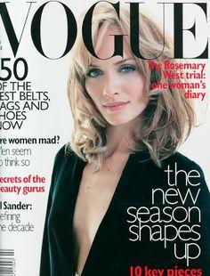 February 1996 Amber Valletta wears a black wool tunic dress, £425, at Gucci. Make-up all by MAC. Photography: Miles Aldridge. Hair: Julien d'Ys. Make-up: Linda Cantello. Fashion editor: Tiina Laakkonen.