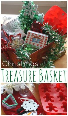 Christmas treasure basket and sensory play for younger kids including toddlers. Christmas themed items fro exploring th holiday season.