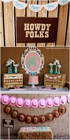 Pink and Aqua Cowgirl Themed Birthday Party! on http://pizzazzerie.com