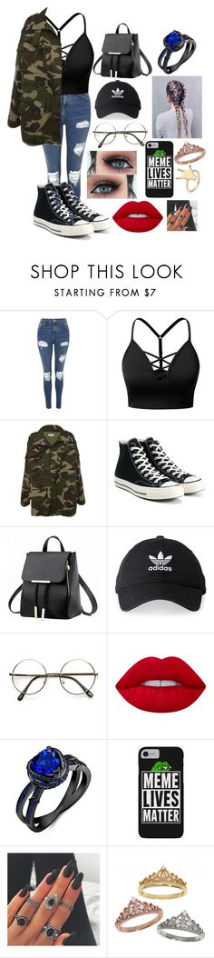 """"""""""" by aesthetic-fashion on Polyvore featuring Topshop, J.TOMSON, Converse, adidas, Lime Crime and Eternally Haute"""