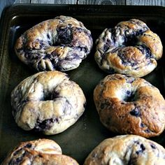 Crispy on the outside, soft and chewy on the inside - homemade blueberry bagels