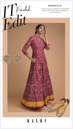 Ruby red anarkali dress in santoon with patola print all over. Crafted with mandarin collar with V and 3/4th sleeves. Slight variation in color is possible. Ethnic Outfits, Anarkali Dress, Mandarin Collar, Indian Ethnic, Fashion Illustrations, Ruby Red, Indian Wear, Wedding Season, Work Outfits