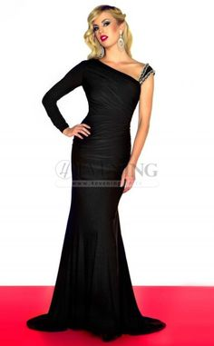 Sexy Black One Shoulder Trumpet/Mermaid Evening Dress(JT4E-0676)