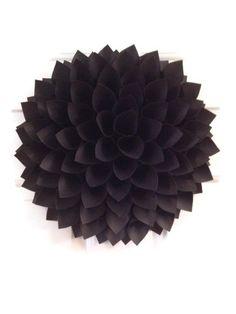 Black Dahlia Wreath, Black Wall Decor, Shabby Chic Wreath, Paper Flower, Wall Flower Art, Wedding Decor, Centerpiece, Chair decor by OurPlaceToNest on Etsy