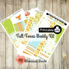 PRINTABLE Happy Planner FALL FOXES Weekly Kit- Fox by WhimsicalWende on Etsy