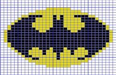 Ravelry: Mini Batman Logo Chart pattern by Elizabeth Thomas. 31 stitches wide by 24 stitches tall. C2c Crochet, Tapestry Crochet, Crochet Chart, Cross Stitch Charts, Cross Stitch Designs, Cross Stitch Patterns, Knitting Charts, Baby Knitting, Knitting Patterns