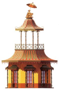 chinoiserie prints by bernd dams & andrew zega Historical Architecture, Art And Architecture, Pagoda Temple, Deco Paint, Decoupage, Chinoiserie Chic, Asian Decor, China Art, Watercolor Art