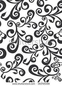 Vector monochrome illustration of flowers ornament seamless pattern