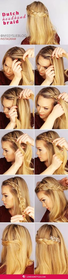 A Dutch Crown Braid Step By Step ❤️ A headband braid, also known as a crown or a halo braid, is a cute half updo or updo hairstyle with a braid around a head. And as for the type of a braid involved, any braid would do here. Make a choice based on your taste. ❤️ See more: http://lovehairstyles.com/cute-headband-braid-hairstyles/ #lovehairstyles #hair #hairstyles #haircuts