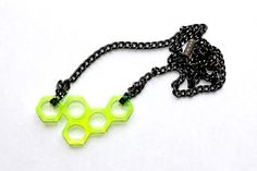 Small Green Neon Plexiglass Honeycomb Neckalce Design. Black chain. One of a kind design. Neon Shape Summer necklace.