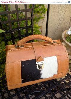 06d22a3b9df0 A vintage 1970s boho all leather cowhide satchel handbag doctors bag
