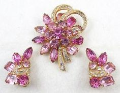 Eisenberg Ice Pink Rhinestone Brooch Set - Garden Party Collection Vintage Jewelry