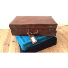 Leather suitcase . Art Deco suitcase. Old luggage . French vintage... (€135) ❤ liked on Polyvore featuring home, home decor and small item storage
