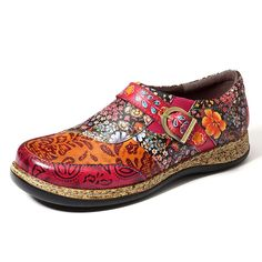 Socofy SOCOFY Retro Buckle Fancy Flowers Splicing Genuine Leather Stitching Zipper Comfortable Flat Shoes is cheap and comfortable. There are other cheap women flats and loafers online. Loafers Online, Shoes Online, Flower Shoes, Orange Shoes, Comfortable Flats, Leather Flats, Cow Leather, Fashion Flats, Shoes Outlet