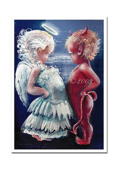 Whimsical+Angel+VS+Devil++8x12+Print+from+Original+by+RubysBrush,+$12.00