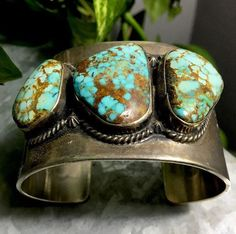 Emma is most known for her outstanding chandelier turquoise earrings but on rare occasion you find a cuff or a ring. This is by far the largest piece I have seen by her, and her pieces do not stay on the market long at all. | eBay!