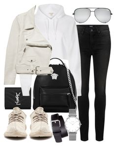 """Untitled #20589"" by florencia95 ❤ liked on Polyvore featuring Paige Denim, Yves Saint Laurent, River Island, Versace, Acne Studios, H&M and Topshop"