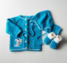 Knitted baby boy set with puppy design Dalmatian puppy by Tuttolv