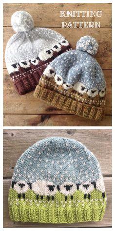 Baby Hat Knitting Patterns Free, Animal Knitting Patterns, Fair Isle Knitting Patterns, Baby Hats Knitting, Mittens Pattern, Knitting Designs, Free Knitting, Knitting Projects, Knitted Hats