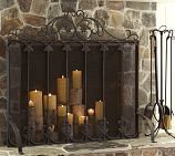 fireplace screen with candles in fireplace (inspiration)