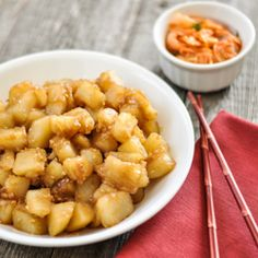 Korean Style Potatoes, a traditional Korean side dish.