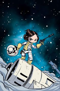 Star Wars - Princess Leia Marvel comic alternate cover art by Skottie Young. Skottie Young, Comic Book Artists, Comic Artist, Comic Books, Comics Illustration, Illustrations, Disney Illustration, Star Wars Comics, Star Wars Art