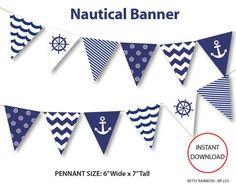 Nautical banner, printable banner, nautical, DIY party, navy blue nautical bunting pennants  - BR 223