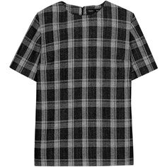 Proenza Schouler Plaid wool-blend crepe top (57,180 PHP) ❤ liked on Polyvore