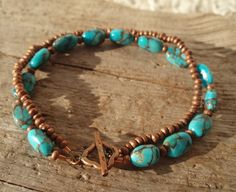Turquoise and Burnished Copper Double Bracelet by kudzupatch