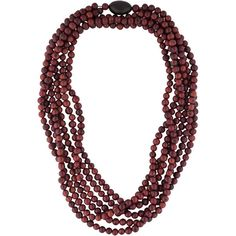 Pre-owned Eskandar Beaded Necklace featuring polyvore, fashion, jewelry, necklaces, brown, multi row necklace, preowned jewelry, layered chain necklace, multiple chain necklace and brown bead necklace