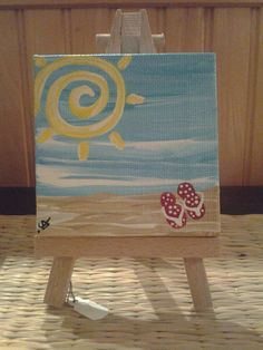 Mini Painting Swirly Sun and Red Flip Flops by KeyLargoCoconuts, $15.95