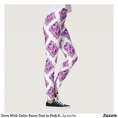 Shop Dove With Celtic Peace Text In Pink Purple Tones Leggings created by taiche. Personalize it with photos & text or purchase as is! Workout Leggings, Women's Leggings, Christmas Leggings, Look Cool, Body Types, Dressmaking, Pink Purple, Things That Bounce, Celtic