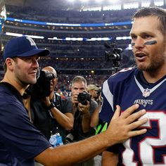 """After the Cowboys' loss to the Patriots, injured QB Tony Romo told Tom Brady, """"See you in February. Patriots Memes, After Game, Tony Romo, Tom Brady, Sports Humor, See You, Nfl Football, Espn, Dallas Cowboys"""