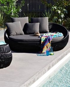 Riviera Outdoor Round Daybed - Charcoal Upholstery – Allissias Attic & Vintage French Style