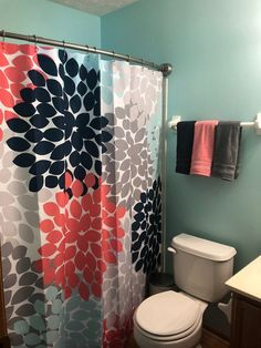 Shower Curtain In Navy Coral Pink Aqua Gray Floral Standard And Extra Long Length 70 74 78 84