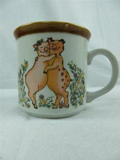 Hugging Pigs Coffee Mug Otagiri Hope Cartwright Flowers Basket Brown Interior