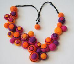 Felted bead necklace by hendMejdBajKejt on Flickr
