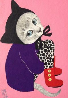 Whimsical cat Illustration by Yuko Higuchi Cool Cats, I Love Cats, Crazy Cat Lady, Crazy Cats, Drawn Art, Art Et Illustration, Cat Illustrations, Here Kitty Kitty, Sad Kitty