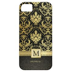 Elegant Black and Gold Damask wiht Monogram iPhone 5 Covers