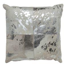 Canaan Silver Hide Throw Pillow @Zinc_Door