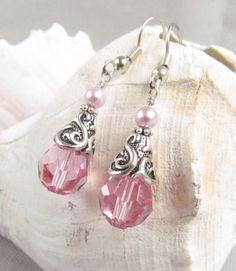 Pink Swarovski Crystal Earrings Handmade Bride or by Harleypaws, $20.00