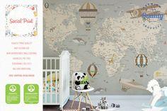 Nice World Map Home Art Wall Sticker MAP OF THE WORLD Wall Chart Poster Decor #L