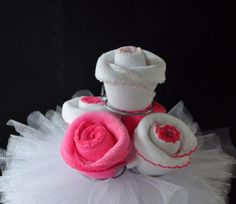 Wash Cloth Roses.  Supposed to be a cupcake, but looks like roses to me.