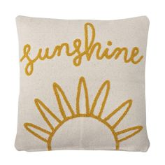 Large natural cotton cushion with mustard yellow 'sunshine' embroidery. We love this for a kids room, or on the sofa! You can see the whole range from Bloomingville here. Scatter Cushions, Throw Pillows, Happy Vibes, Boxing Day, Cushion Pads, Baby Shop, Bird Feathers, Modern Decor, Playroom