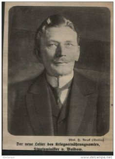 Der neue Leiter des Kriegsernährungsamtes / Druck, entnommen aus Zeitschrift /1917